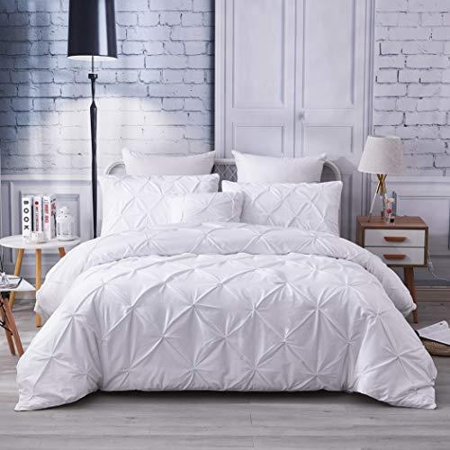 FADFAY Pinch Pleat White Bedding Set Premium 100% Cotton 600 TC Hypoallergenic All Season Pintuck Style Best Bedding 3 Piece:1 Duvet Cover(No Comforter, 2 Pillowcase(White, King/California King)