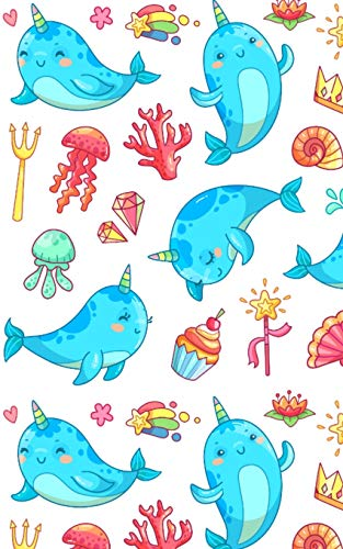 Narwhal Notebook: Super Kawaii Narwhals Lined Notebook Journal with Cupcake Rainbow Heart Crown Shell Magic Wand Ice Cream Shooting Stars Jellyfish ... for Girls Boys Kids Women - 120 Pages 5x8