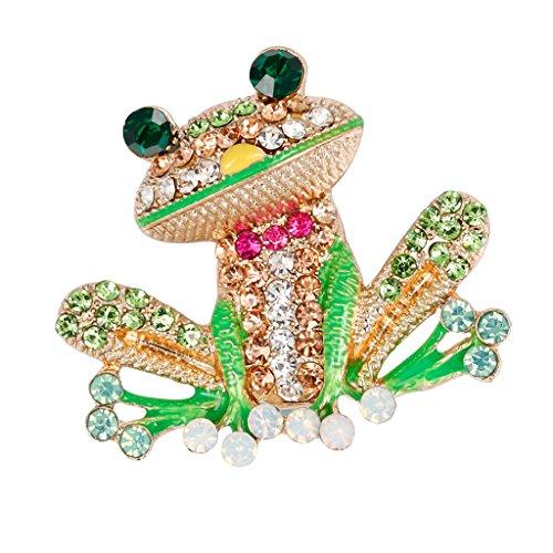 Bonarty Bling Crystal Rhinestone Esmalte Colorido Insecto Frog Broches