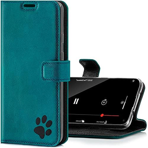 SURAZO Funda para iPhone 12 Mini – Funda de piel auténtica de alta calidad con diseño de huellas – Turquesa ante – Funda tipo cartera con función atril hecha a mano en Europa para Apple iPhone 12 Mini