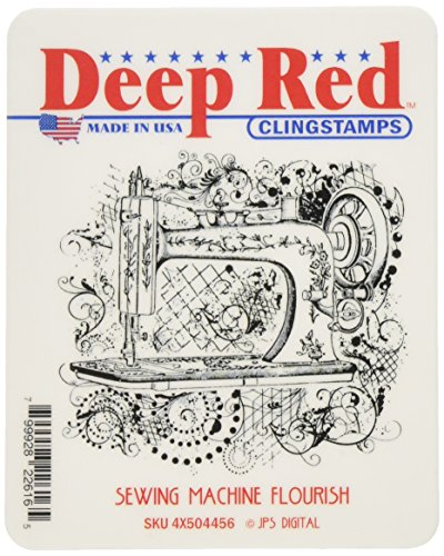 Deep Red Stamps: Sewing Machine Flourish Rubber Stamp