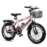 Bicicleta para niños Bicicleta infantil niña rosa bicicleta 7-8-9-10-11-12 años niño grande con estabilizadores y canasta Bicicleta pedal infantil (Color : Pink, Size : C)