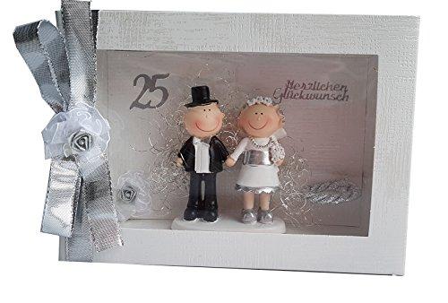 Der-kleine-Dekoladen Geldgeschenk Box Silber Silberhochzeit Geldgeschenk Brautpaar Silber