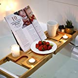 Wellvivid Wooden Bath Caddy Tray - Extendable for UK Bath Size - 100% Natural Bamboo Bathtub Board - Relax With a Glass of Wine - Spa Experience at Home - with iPad and Phone Holder