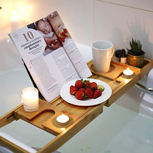Wellvivid Wooden Bath Tray - 100% Natural Bamboo Bathtub Caddy - Extendable...