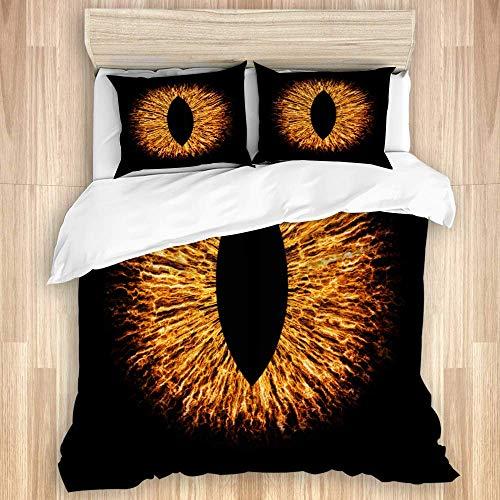 Juego de funda nórdica de 3 piezas, ilustración macro de iris de ojo de animal malvado oscuro, juegos de fundas de edredón de microfibra de lujo para dormitorio, colcha con cremallera con 2 fundas de