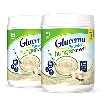 Glucerna Hunger Smart Powder with 22g of Protein and 1g Sugar Gluten-Free Protein Powder Mix for People with Diabetes Homemade Vanilla 22.3-oz Tub Pack of 2