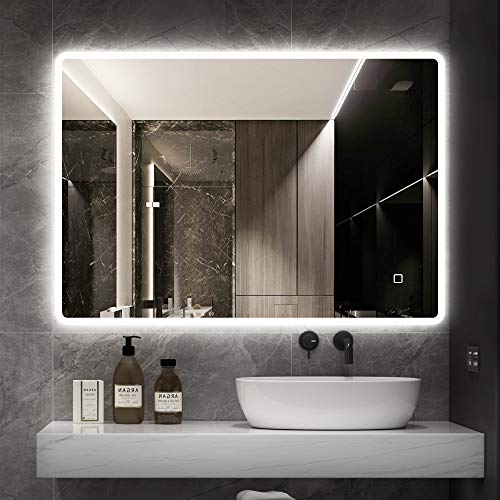 Espejo Bluetooth iluminado con retroiluminación LED de 600 x 800 mm, espejo de pared con almohadilla antiempañador, botón regulable táctil, horizontal/vertical