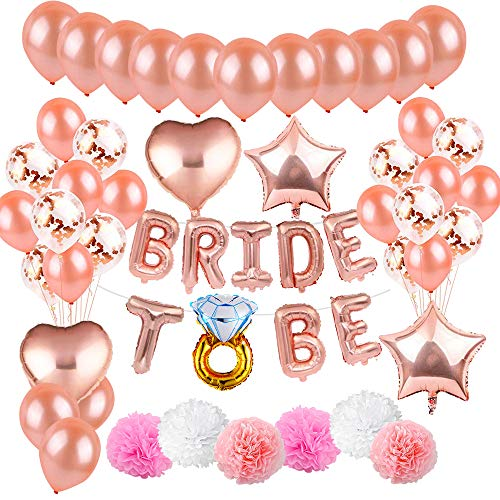 MMTX 45 stuks JGA Decoratie Ballonnen Roze Set Helium Letters Folie Ballonnen Bride to BE, Bachelorette Team Bride Feestartikelen met bruid folie ballonnen