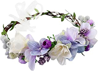 Exquisite Pinecone Leaf Berry Flower Crown Headband Wreath Floral Garland Headpiece with Ribbon Festival Wedding Party