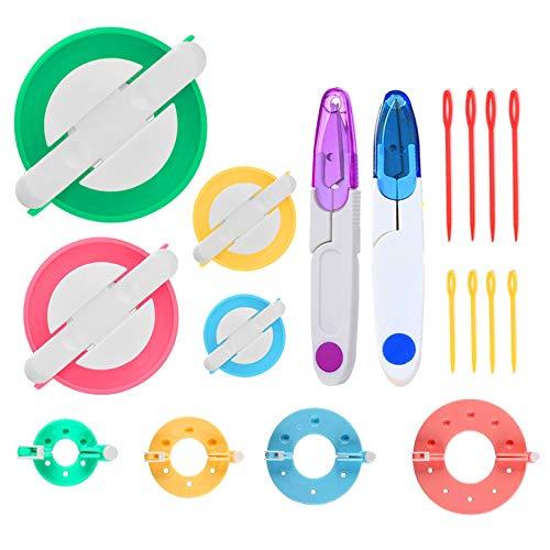Pom Pom Maker 8 Piezas 4 Tamaños Juego de herramientas para hacer pompones Kit para hacer pompones, para hacer bolas, tejer, manualidades,tejer, hacer punto, con tijeras para cortar hilos