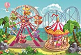 Yeele 7x5ft Fairground Photo Backdrop Cartoon Circus Carnival Playground Carousel Ferris Wheel Ticket Amusement Park Background for Photography Kids Girl Boy Baby Portrait Booth Shoot Studio Props
