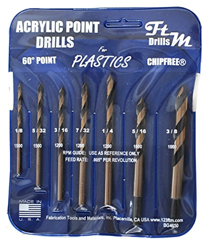 Drill Bits for Plastic (Acrylic, plexiglass, ABS, lexan, Polycarbonate, PVC) Norseman 7pc Acrylic Point Drill Set in Vinyl Pouch. Includes 1/8', 5/32', 3/16', 7/32' 1/4', 5/16', and 3/8' Part BG4650A