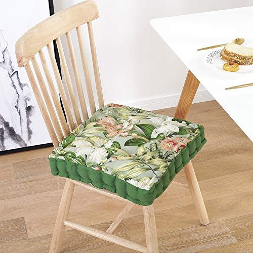 LISEPT Sillón Cojín Booster Cuadrado Grueso Almohadillas De Asiento,Suave 100% Algodón Impresión Cojín De Piso con Manejar Interior O Exterior Multicolor Verde 40x40x7cm