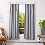 AmazonBasics - Barra de cortina con terminales cúbicos, 2,5 cm de diámetro, longitud ajustable de 91-183 cm, con 14 anillas, efecto níquel