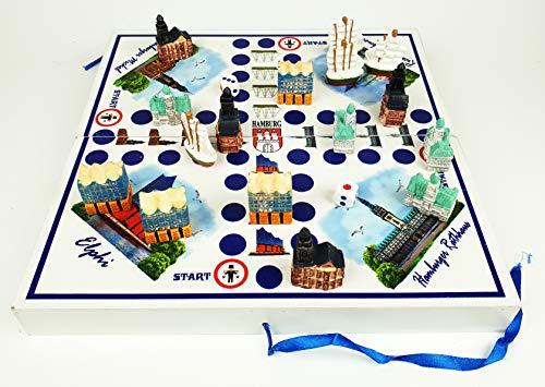 Hamburg Würfelspiel Brettspiel 2-4 Personen Gesellschaftsspiel Holz Rathaus Michel Schiff Elphi Figuren