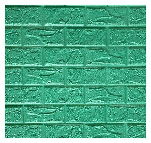 YEYU BH - Adhesivo decorativo para pared de ladrillo 3D para papel pintado de espuma, impermeable, adhesivo negro (color: verde oscuro, tamaño: 60 x 30 x 0,85 cm)