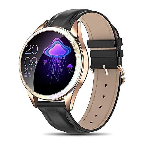 Reloj inteligente para mujer IP68 Resistente Al Agua Rastreador de ejercicios con Monitor de Frecuencia Cardíaca, Notificación de mensajes, Reloj inteligente para Android iPhone ( Color : Black )