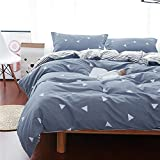 Uozzi Bedding Queen Duvet Cover Set Blue Gray & Triangles 3 Pieces (1 Spring Duvet Cover 90x90 + 2 Pillow Shams) 800 - TC Luxury Hypoallergenic Modern Style Warm Comforter Cover with 4 Ties Zipper