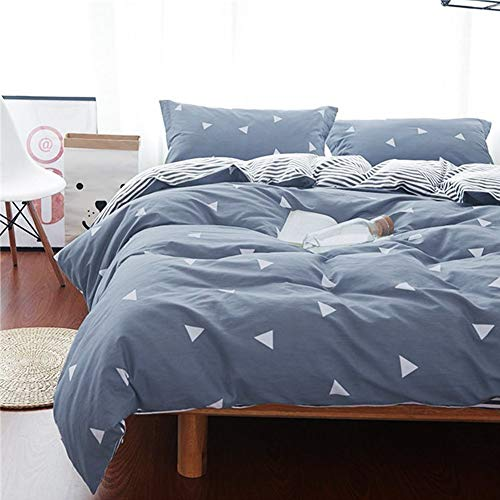 Queen Duvet Cover Set Blue Gray & Triangles 3 Pieces 800 TC Luxury Microfiber with Zipper Closure 4 Ties Modern Summer Style for Men and Women
