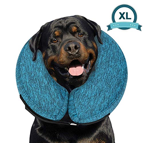 """MIDOG Pet Inflatable Collar for After Surgery,Soft Protective Recovery Collar Cone for Dogs and Cats to Prevent Pets from Touching Stitches, Wounds and Rashes (X-Large(Neck:18""""-24""""), Blue)"""