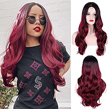 Ombre Burgundy Red Wig For Women 26 Inches Long Loose Wave Lace Wig with Black Roots Heat Synthetic Curly Wig Daily Halloween Cosplay Silky Lace Wig Natural Looking OT1B/BUG NYL2330