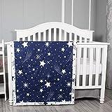 Belsden Ultra Soft Star Baby Comforter, Cozy Breathable Lightweight Crib Quilt for Boys Girls, 34' x 44' Nursery Bedding Baby Toddler Quilted Blanket, Duvet Insert, Space Star Navy Blue