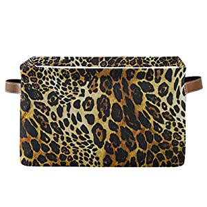 BETTKEN Storage Bins Basket Tribal Abstract Leopard Pattern Collapsible Laundry Hamper Organizer Toys Cube Bag with Handles for Home Office Nursery Shelf Closet,1 Pack