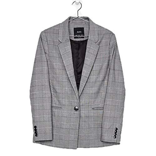 BoxJCNMU Herbst-Anzug Blazer Frauen Büro beiläufige Plaid Elegante Eingekerbte Formale Blazer Plaid XL