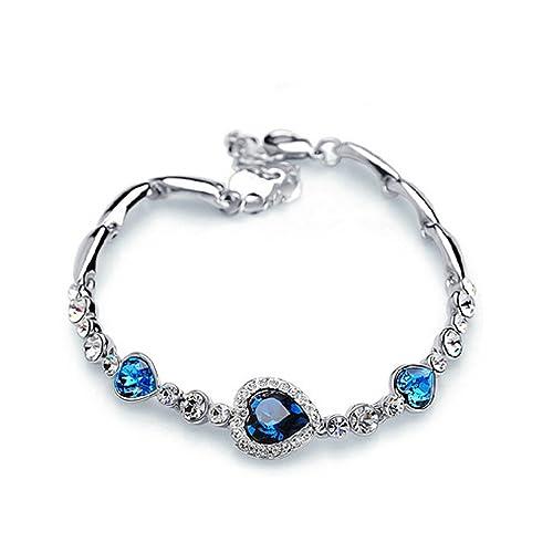 Charming Womenu0027s Austrian Crystal Titanic Inspired Heart Of Ocean Bangle  Bracelet (Ocean Blue)