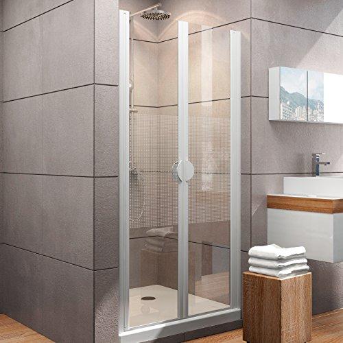 Schulte Duschkabine Pendeltür Nische Madrid, 70 x 180 cm, 5 mm Sicherheitsglas Quattro, alpinweiß, 2-teilige Duschtür