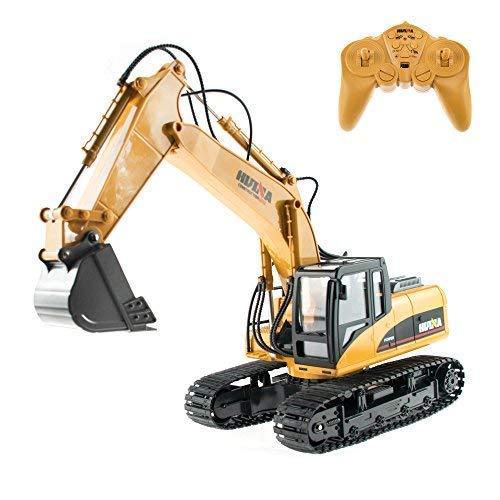 RC Auto kaufen Baufahrzeug Bild: efaso 1:14 RC Bagger 1550 - 2,4 GHz Baustellenfahrzeug mit Licht und Sound, Schaufel aus Metall, Aufnahmemodus und umfangreichen Steuerungsmöglichkeiten*