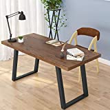 LITTLE TREE 55' Rustic Computer Desk, Solid Wood Industrial Desk with Heavy-Duty Slanted Metal Base,...