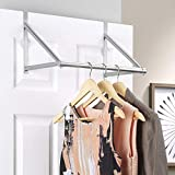 GEEZY Stainless Steel Over The Door Rail Hanger Bar Clothes Rod Space Saver Storage