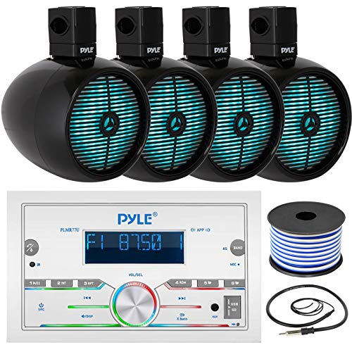 Pyle Double DIN AM FM Stereo MP3 USB AUX Bluetooth Marine Power Receiver Bundle Combo with 2 Pairs of 8  2-Way 480W Marine Black Wakeboard LED Tower Speakers, Wired Antenna, 18 Gauge Speaker Wire