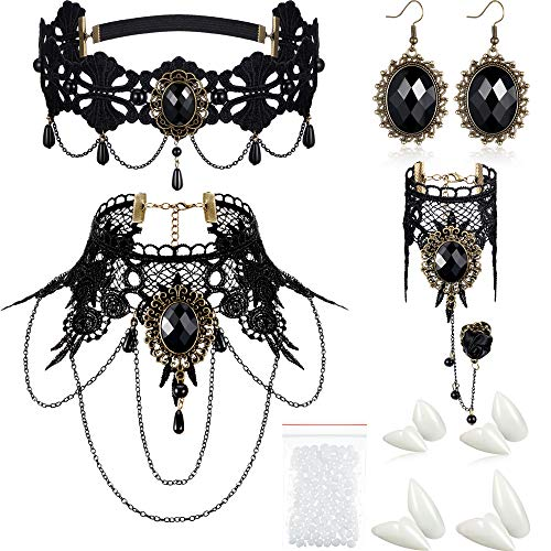 8 Pieces Halloween Vampire Teeth Fangs Vampire Choker Earrings Bracelets Gothic Costume Jewelry for Victorian Vampire Halloween Party, Zombie Cosplay Party Supplies