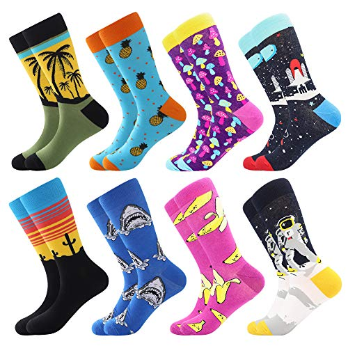 🦄 COZY AND FIT GREAT :Bonangel men / women fun crazy dress socks pack fit size US 8-12 / EU 41-46.They are made of cotton and spandex. Fit you snugly but not tightly and the seams are well turned under ,feels like your feet are getting a nice hug! 🦄 ...