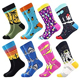 Funny Socks for Men & Women ,Fun Socks ,Crazy Colorful Cool Novelty Cute Dress Socks ,Food Animal Space Socks 2 🍋 FUN COZY DRESS SOCKS CAN IMPROVE YOUR DAY : These fun crazy dress socks are made from cotton, polyester, spandex, and love.They are designed in variety of cool patterns and fit adults with a US Shoe Size 8-12.Super comfy and include the perfect stretch for your feet. 🍓 BE AUTHENTICALLY YOU WITH STYLE :These stylish funny men's 10 pack dress /crew socks features colorful stripes, argyles, polka dot and composition with red ,blue ,yellow,green. With fun patterns like these, you show that you have a little personality beyond the traditional buttoned-down office.Don't sacrifice style or comfort! 🍋 FABULOUS ACCESSORIES FOR MOST OF OCCASIONS:These fun novelty dress/crew socks are great to be worn as Daily Trouser Socks, Business Office Suit Socks, Sneaker Socks, Party Socks, Groomsman Wedding Dress Socks; Very easy to match your casual jeans, summer shorts, business outfits, or party costumes etc.And this is also a really good gift (for birthday,Christmas ,Valentine's Day,Thanksgiving or other special days) if you don't know what to get someone.