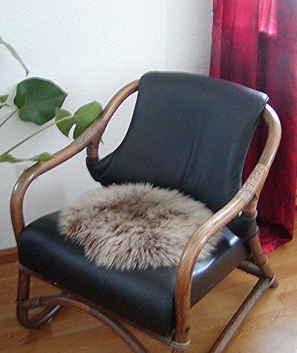 HEITMANN runde Sitzauflage aus australischen Lammfellen, Fellkissen rund braun/helle Spitzen, Ø ca. 45 cm, waschbar, Haarlänge ca. 70 mm