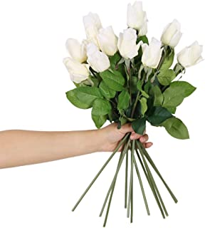 N YONGNUO 12pcs Latex Moisturizing Roses of Real Touch Natural Artificial Flowers White Bud Roses Realistic Color for Wedding/Home Decor or As a Gift to Wife/Mother/Friend(19 Inch-White)