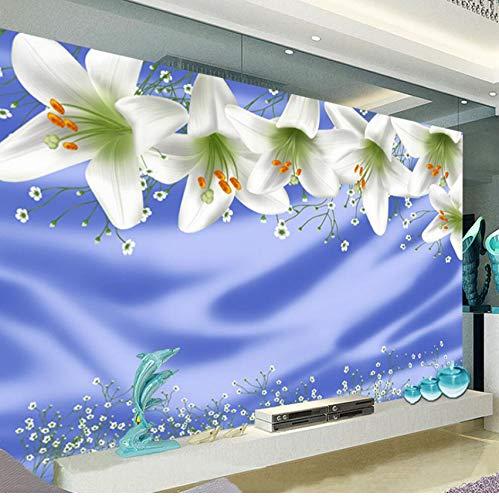 Rureng Moderner Hintergrund Große Malerei Weiße Lilie Blaue Seidentuch Wall Murals 3D Wallpaper Um Bel Badroom Wandbild Für-400X280Cm