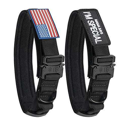 Tactical Dog Collar with USA American Flag - Military Dog Collar Thick with Handle - Heavy Duty Nylon K9 Adjustable Metal Cobra buckle for Medium Large Dogs M L XL Chew Proof with 2 Patches Black