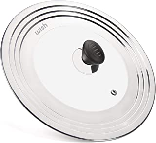WISH Universal Pan Lid Pot Lid for All 8.25 Inch to 12.5 Inch Pots/Pans/Woks, Stainless Steel and Glass Lid for Lodge Cast Iron Skillets Frying Pans