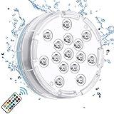Chakev Unterwasser Licht IP68 Pool Beleuchtungen Farbwechsel Poollicht Garten Licht mit Magnet Saugnapf RF-Fernbedienung für Teich Whirlpool Badewanne Festival Dekoration, 1 Stück