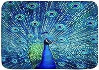 3Dプリント玄関マットドアマット オープニングピーコックファンタジーオスの鳥キッチンフロアバスラグマット屋内バスルームの装飾ドアマット滑り止め バスルームリビングルームキッチンベッドルームクリスマスハロウィーン新年家の装飾ギフト滑り止めカーペット40X60cm