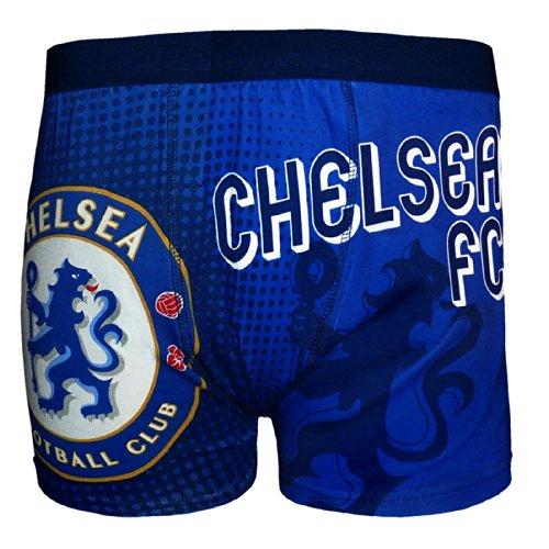 FC Chelsea Herren Wappen Boxershorts - Original-Fußballgeschenk - 95% Baumwolle; 5% Elasthan - Blau - M