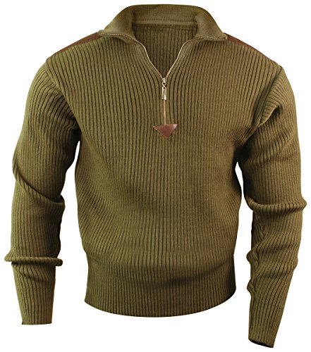 Rothco 1/4 Zip Acrylic Commando Sweater, Olive Drab, Large