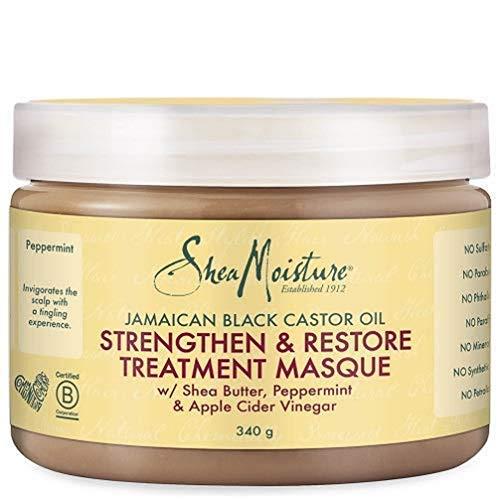 Shea Moisture Masque Capillaire Fortifiant et Restaurateur à l'huile de ricin noir jamaïcain et beurre de karité, traitement pour cheveux secs et abîmés, 355ml