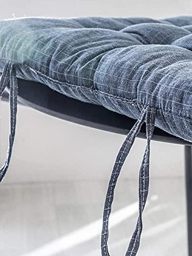 KJHGK Home Linen - Cojín de lino para silla (40,6 x 40,6 cm, con lazos, cojín cuadrado con relleno de algodón grueso, para sentarse, sillas de comedor al aire libre, paquete de 2