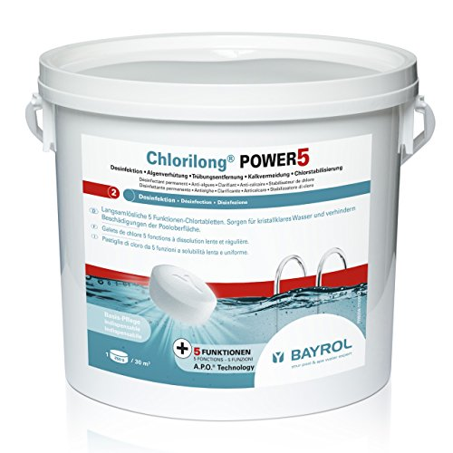 BAYROL Chlorilong Power 5 multifunción Tablette à 250 g Cloro Desinfectante 5 kg